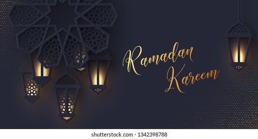 Ramadan Kareem greeting banner. 3d paper cut flower decorated traditional islamic pattern with shiny hanging lanterns, golden greeting text, dark background. Vector illustration.
