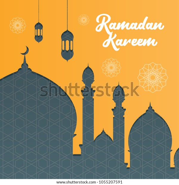 Ramadan Kareem Greeting Banner Background Mosque Stock Vector