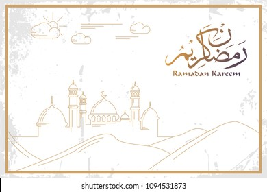 Ramadan Kareem greeting banner design with mosque line art on grunge background. Vector illustration