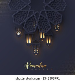 Ramadan Kareem greeting card. 3d paper cut flower decorated traditional islamic pattern with shiny hanging lanterns, golden greeting text, dark background. Vector illustration.
