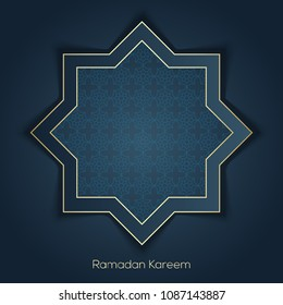 Ramadan Kareem greeting card with arabic ornament. Vector