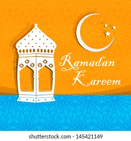 Ramadan Kareem greeting card / Arabic lamp on orange & blue background for Ramadan Kareem.