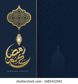 Ramadan kareem greeting card with arabic calligraphy and gold crescent moon and lantern vector illustration