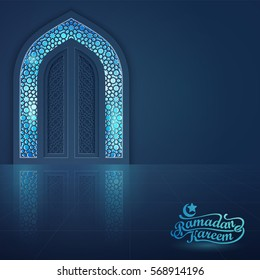 Ramadan Kareem greeting card banner background islamic mosque door vector illustration