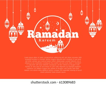 Ramadan Kareem Greeting card Calligraphy with Traditional lantern and Mosque. Vector Illustration.