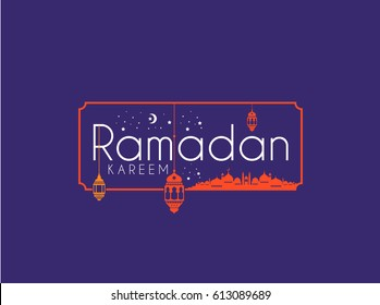Ramadan Kareem Greeting card Calligraphy with Traditional lantern and Mosque in purple Background. Vector Illustration.