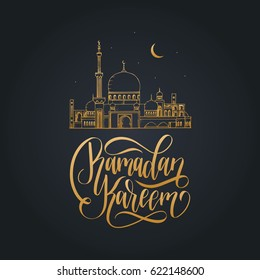 Ramadan Kareem greeting card with calligraphy. Vector illustration of Islamic holiday symbols. Hand sketched mosque, moon and stars. Arabic pattern design background.