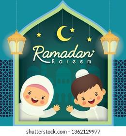 Ramadan kareem greeting card. Cute cartoon muslim kids with fanoos lantern, mosque, crescent moon, stars & blue window frame. (translation: Ramadan the Generous Month)