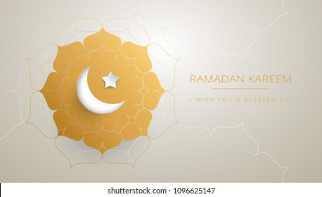 Ramadan Kareem greeting card design islamic line design with moon and gold text 'Ramadan Kareem'. Islamic celebration ramadan background with  islamic illustration