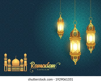 Ramadan Kareem greeting card design with half moon and mosque on green background. Hanging Lamps. vector illustration design - Shutterstock ID 1929061331