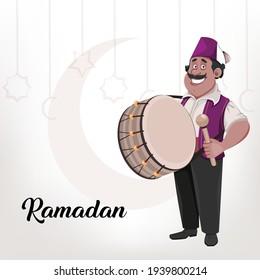 Ramadan Kareem greeting card. Ramadan drummer. Cheerful cartoon character with drum. Vector illustration for holy month