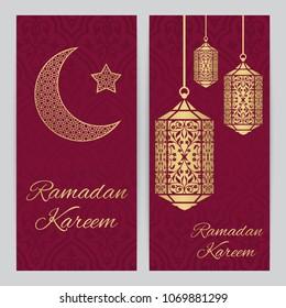 Ramadan Kareem greeting card with fanous (Ramadan lantern)  and half moon,star, gold color vector illustration