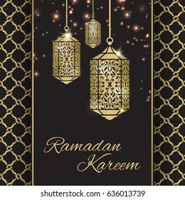 Ramadan Kareem greeting card with fanous (Ramadan lantern)  and stars, gold color vector illustration