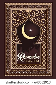 Ramadan Kareem greeting card. Gold frame on dark background. Poster vector illustration