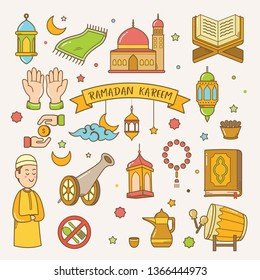 Ramadan kareem greeting card hand drawn vector cartoon