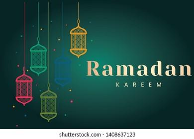 Ramadan Kareem greeting Card Illustration, ramadan kareem cartoon vector Wishing for Islamic festival for banner, poster, background, flyer,illustration, brochure and sale background - Vector - Shutterstock ID 1408637123