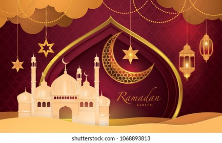 Ramadan Kareem Greeting Card, Islamic art Style Background with Frame Border and mosque, Symbols of Ramadan Mubarak, Hanging Gold Lanterns, arabic lamps, moon, star, Paper art vector and illustration