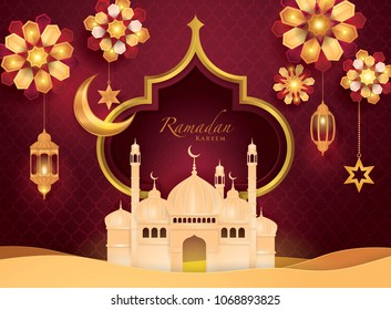 Ramadan Kareem Greeting Card, Islamic art Style Background with Frame Border and mosque, Symbols of Ramadan Mubarak, Hanging Gold Lanterns, arabic lamps, Red Flower, Paper art vector and illustration