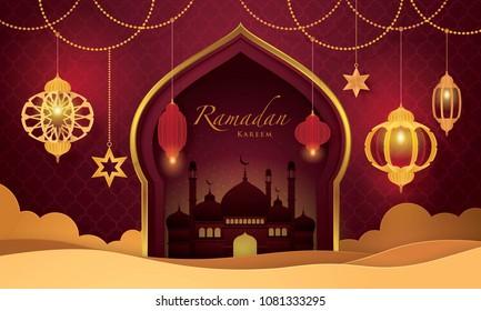 Ramadan Kareem Greeting Card, Islamic art Style Bacground with Frame Border and mosque, Symbols of Ramadan Mubarak, Hanging Gold Lanterns, arabic lamps, moon, star, Paper art vector and illustration