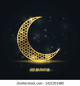 Ramadan Kareem greeting card - islamic crescent with golden arabic pattern