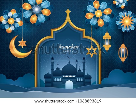 Ramadan Kareem Greeting Card, Islamic art Style Background with Frame Border and mosque, Symbols of Ramadan Mubarak, Hanging Gold Lanterns, arabic lamps, moon, star, Blue Flower, Paper art vector