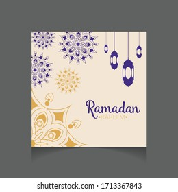 Ramadan Kareem greeting card with mosque and the lamps background. Editable Vector illustration for banner, poster, and posting social media, ect.