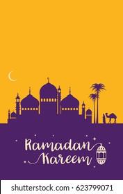 Ramadan kareem greeting card with mosque silhouette, vector