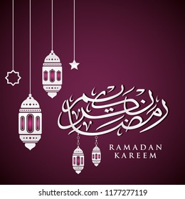 Ramadan Kareem greeting card on violet background