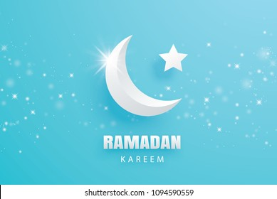 Ramadan Kareem greeting card paper art background. Eid Mubarak moon and stars banner illustration design. Use for Islamic flyer, poster, brochure, sale.