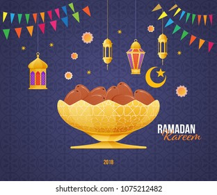 Ramadan Kareem greeting card with picture of sweet dates fruit in the gold metal Arabic bowl. Islam, Muslim calligraphy with signatures. Eid-al-fitr ramadan kareem postcard. Vector illustration.