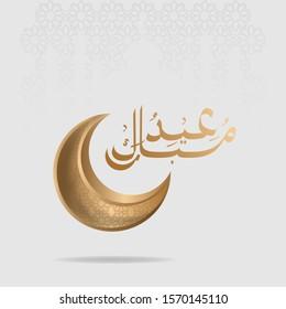 Ramadan Kareem Greeting Card. Ramadhan Mubarak. Translated: Happy & Holy Ramadan. Month of fasting for Muslims. Arabic Calligraphy. Vector Illustration