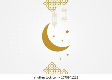 Ramadan kareem greeting card template. Islamic crescent moon, ramadan lamp or lanterns and muslim pattern element.