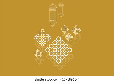 Ramadan kareem greeting card template. Ramadan lamp or lanterns and muslim pattern element