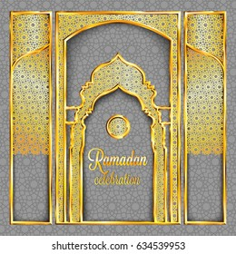 Ramadan Kareem greeting card with traditional islamic pattern, invitation or brochure in eastern style.Arabic circle and stars golden pattern.Gold ornament with shiny frames and mosque stylized doors