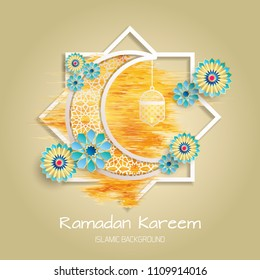 Ramadan Kareem greeting card. Vector template greeting card with intricate Arabic lamp on shiny abstract background.Vector Illustration for greeting card, poster and banner.