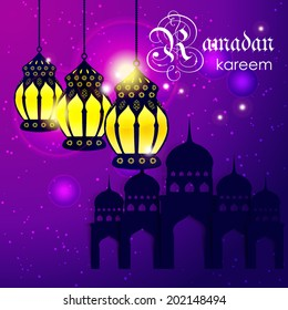 Ramadan Kareem greeting card / Vector template greeting card with intricate arabic lamp and mosque on shiny abstract background