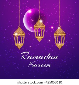 Ramadan Kareem greeting card / Vector template greeting card with intricate arabic lamp on shiny abstract background