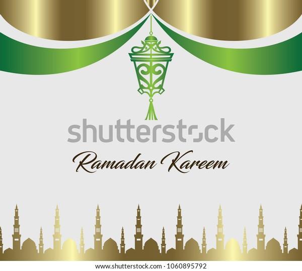 Ramadan kareem greeting card. web banner design template