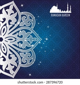 ramadan kareem greeting cards. muslim background. mosque and moon with stars. vector illustration