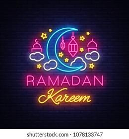 Ramadan Kareem greeting cards, neon sign. Design template, light banner, night neon advert. Ramadan Kareem - Glorious month of Muslim year. Vector illustration