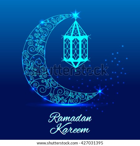 Ramadan kareem greeting card shiny decorated crescent stock vector ramadan kareem greeting cardiny decorated crescent moon with stylish text ramadan kareem on blue m4hsunfo