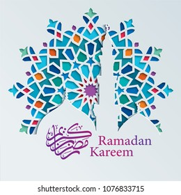 Ramadan kareem greeting with colorful arabic geometric ornament and calligraphy