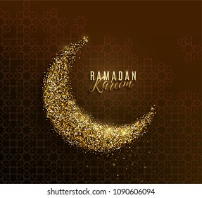 Ramadan kareem greeting concept islamic crescent, golden paper moon, text lettering sign, arabian pattern on dark background with light effect. Vector illustration
