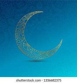 Ramadan Kareem greeting design illustration. Golden ornamental half moon on the blue gradient background. Vector EPS 10