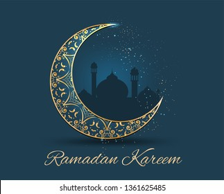 Ramadan kareem greeting islamic celebration dark blue and gold-color patterns card background