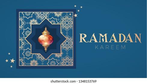 Ramadan Kareem Greeting. Islamic Holiday Design Template. Oriental Lantern with Light. Vector illustration