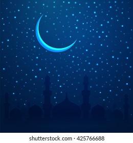 Ramadan Kareem greeting with mosque on night cityscape background. Vector illustration.