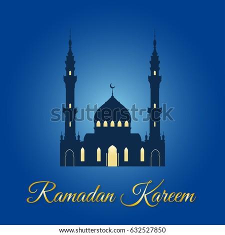 Ramadan kareem greeting muslim mosque islamic stock vector royalty ramadan kareem greeting with muslim mosque islamic and arabic celebration design template vector illustration m4hsunfo