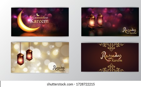 Ramadan Kareem greeting on blurred background set of cards