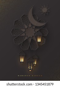 Ramadan Kareem greeting poster. 3d paper cut flower, crescent and hanging lanterns with pattern in traditional islamic style. Design for greeting card, banner or poster. Vector illustration.
